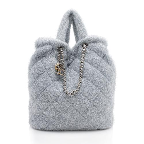 Chanel Quilted Knit Pluto Glitter Large Shopping Tote