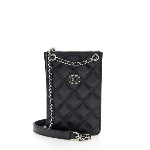 Chanel Quilted Lambskin CC Phone Holder Crossbody Bag 315ef07d50