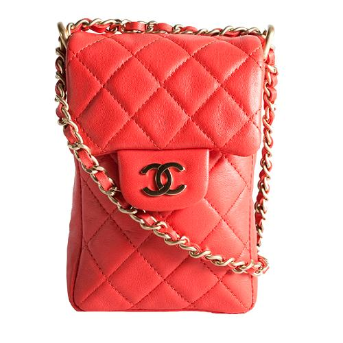 Chanel Quilted Lambskin Cell Phone Shoulder Handbag