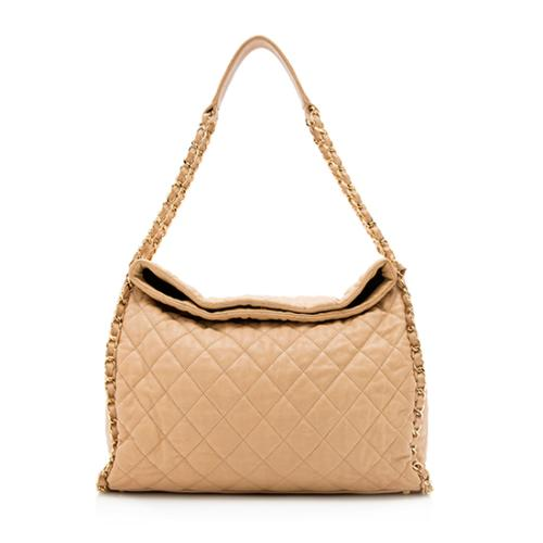 Chanel Quilted Lambskin Chain Around Large Hobo