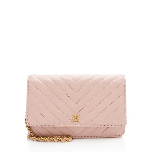 Chanel Quilted Lambskin Chevron Wallet On Chain