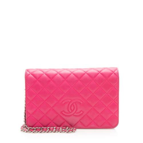 Chanel Quilted Lambskin Diamond CC Wallet On Chain Bag