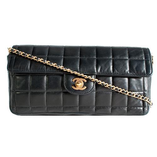 Chanel Quilted Lambskin E/W Flap Shoulder Handbag