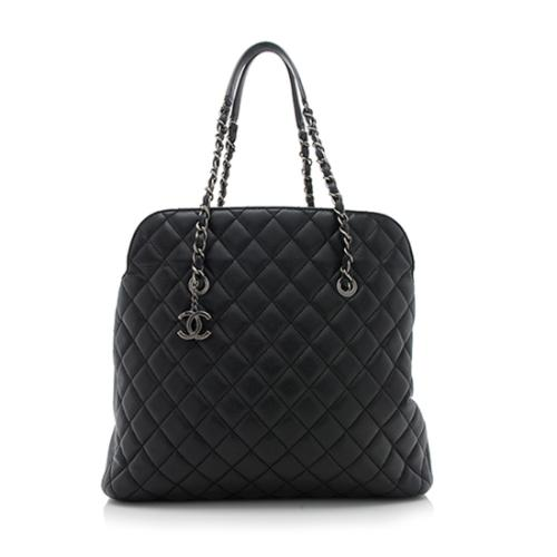 Chanel Quilted Lambskin Fold In Flap Top Tote