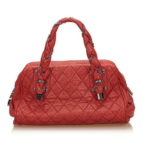 Chanel Distressed Lambskin Lady Braid Bowler Satchel