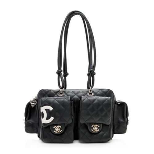 Chanel Quilted Lambskin Ligne Cambon Mini Reporter Satchel