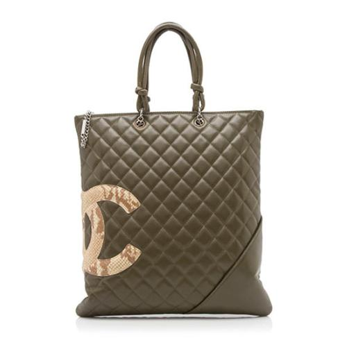 Chanel Quilted Lambskin Python Ligne Cambon Flat Tote