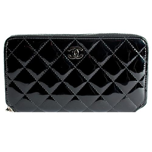 Chanel Quilted Patent Leather Zip Around Wallet