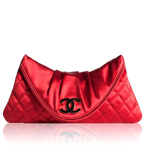 Chanel Quilted Satin Moon Clutch