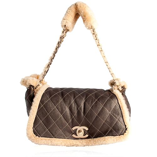 Chanel Quilted Shearling Medium Flap Shoulder Handbag