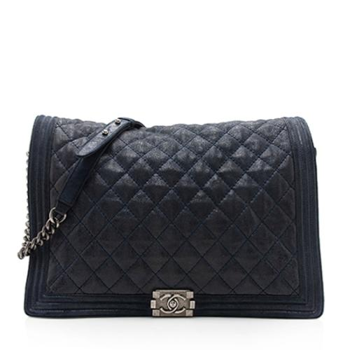 Chanel Quilted Suede Gentle Boy XL Flap Bag