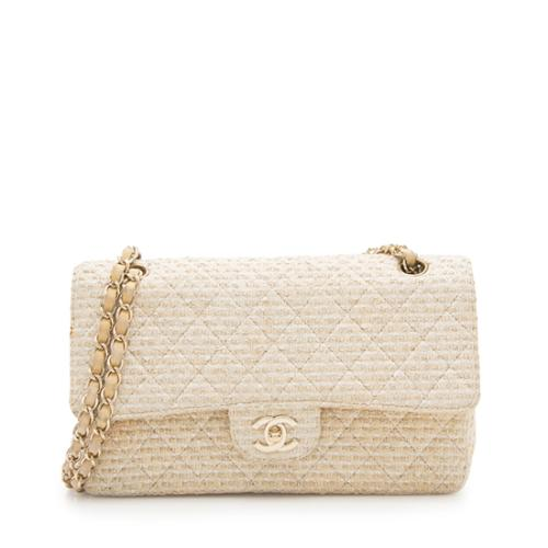 Chanel Quilted Tweed Classic Medium Double Flap Shoulder Bag