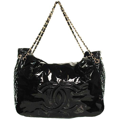 Chanel Rock and Chain Large Patent Flap Tote Handbag