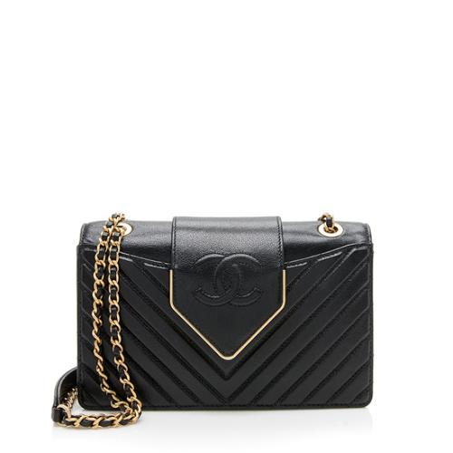 Chanel Chevron Sheepskin Collar and Tie Mini Flap Bag