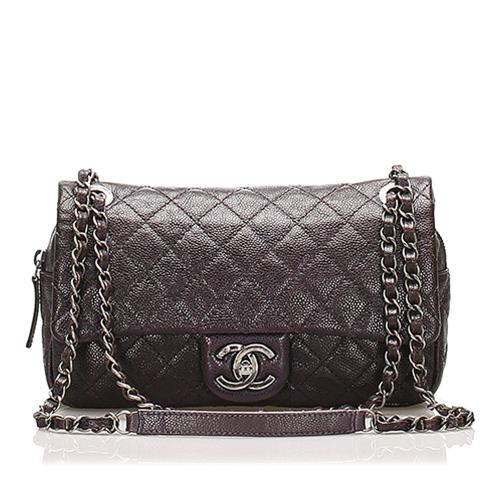 Chanel Small Classic Caviar Leather Double Flap Bag