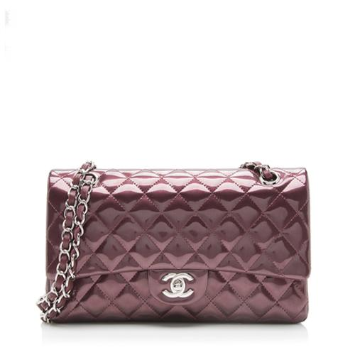 Chanel Striated Patent Leather Classic Medium Double Flap Bag