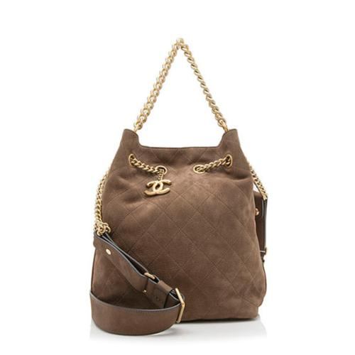 Chanel Suede Calfskin On My Shoulder Drawstring Small Shoulder Bag