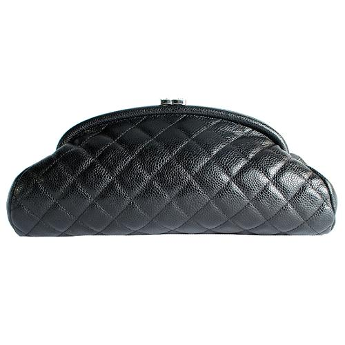 Chanel Timeless Quilted Caviar Leather Evening Clutch