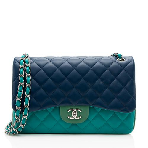 Chanel Tri-Color Lambskin Classic Jumbo Double Flap Bag