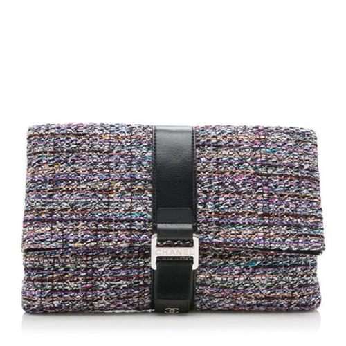 Chanel Tweed Grip Clutch
