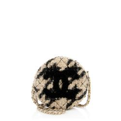 Chanel Tweed Round Clutch with Chain