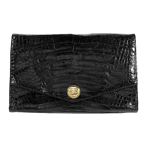 Chanel Vintage Alligator Envelope Clutch