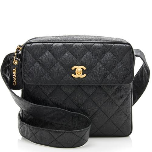 Chanel Vintage Caviar Leather Camera Small Shoulder Bag
