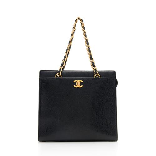 Chanel Vintage Caviar Leather Front Pocket Shoulder Bag