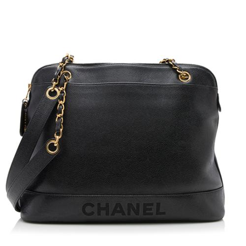 Chanel Vintage Caviar Leather Logo Large Tote