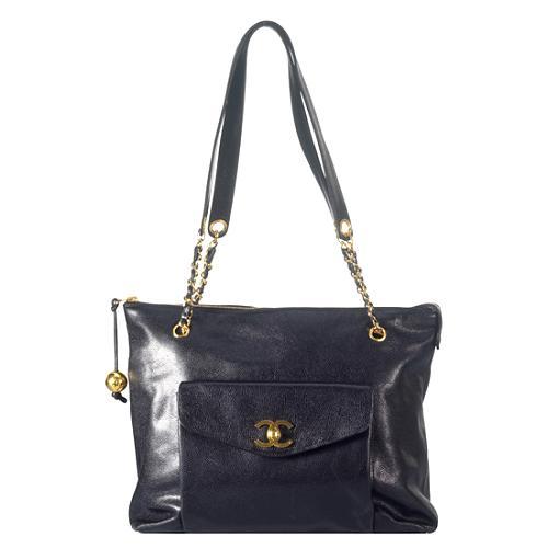Chanel Vintage Caviar Leather Shoulder Handbag