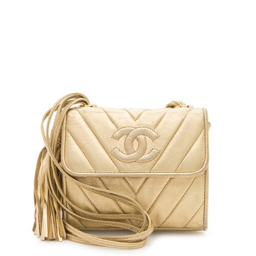 Chanel Vintage Chevron Metallic Lambskin CC Tassel Shoulder Bag