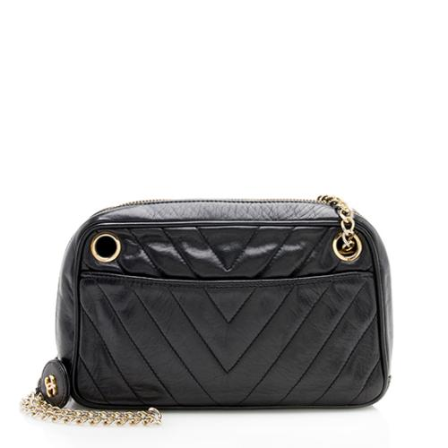 Chanel Vintage Lambskin Chevron Small Camera Bag - FINAL SALE