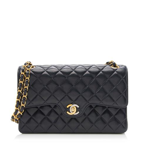 Chanel Vintage Lambskin Classic Double Flap Shoulder Bag