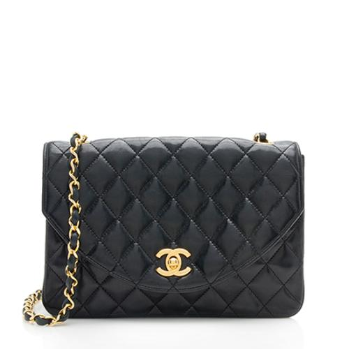 Chanel Vintage Lambskin Curved Flap Shoulder Bag