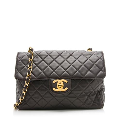Chanel Vintage Lambskin XL Jumbo Single Flap Shoulder Bag