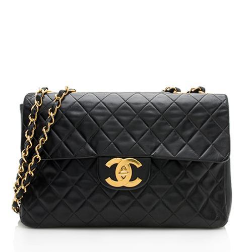 Chanel Vintage Lambskin XL Maxi Single Flap Shoulder Bag 5f104acff03f8