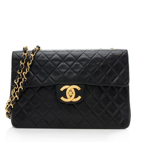 Chanel Vintage Lambskin XL Maxi Single Flap Shoulder Bag