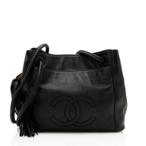 Chanel Vintage Leather CC Tassel Shoulder Bag