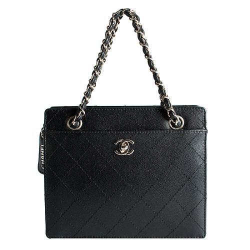 Chanel Vintage Quilted Caviar Leather Satchel Handbag
