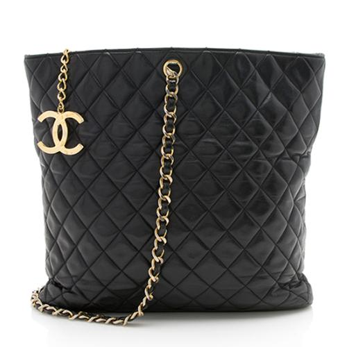 Chanel Vintage Quilted Lambskin CC Single Strap Tote