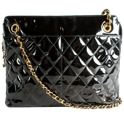 Chanel Vintage Quilted Patent Leather Tote
