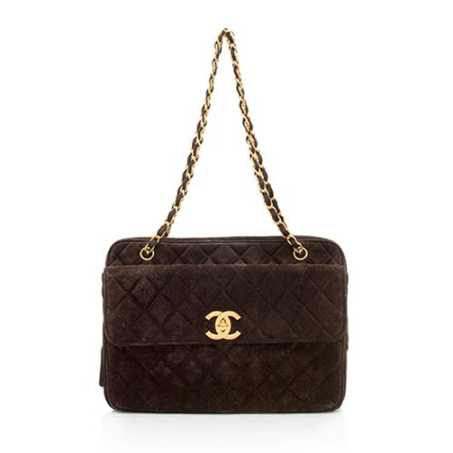 Chanel Vintage Suede Front Pocket Shoulder Bag