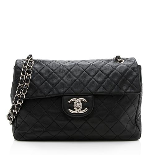 Chanel Washed Caviar Leather Classic XL Jumbo Single Flap Bag