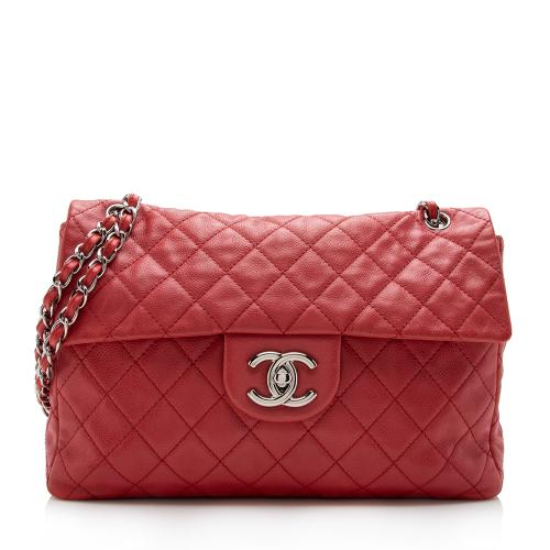 Chanel Washed Caviar Leather XL Jumbo Single Flap Bag