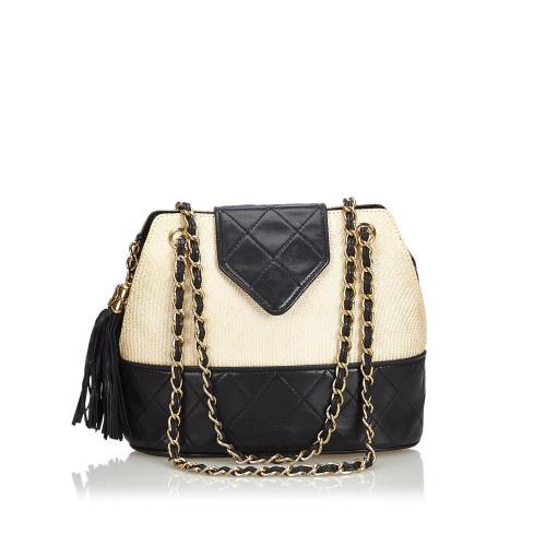 Chanel Woven Raffia Chain Shoulder Bag
