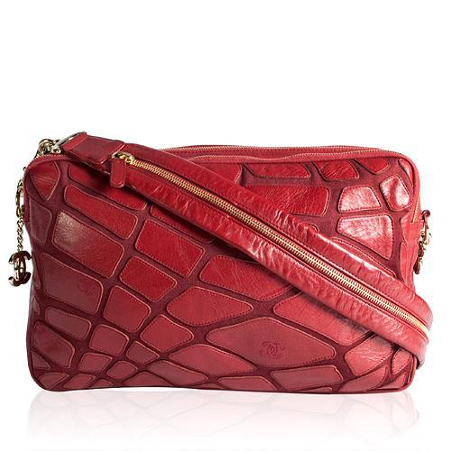 Chanel Zipped Lambskin & Jersey Messenger Handbag