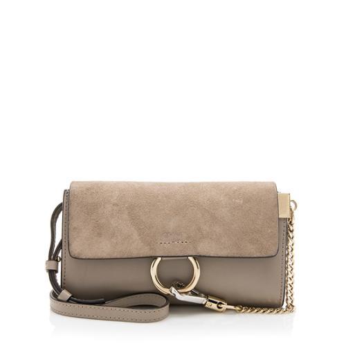 Chloe Calfskin Suede Faye Wallet Bag