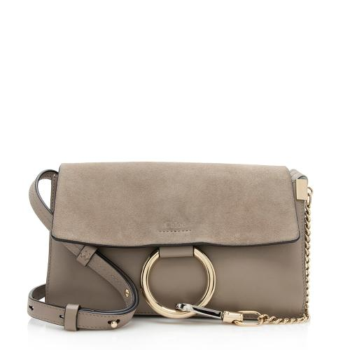 Chloe Calfskin Suede Small Faye Shoulder Bag