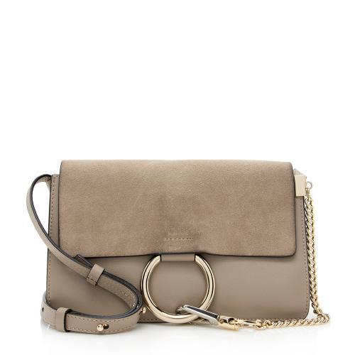 Chloe Calfskin Suede Small Faye Shoulder Bag