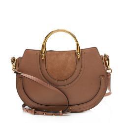 Chloe Calfskin Suede Top Handle Pixie Medium Shoulder Bag